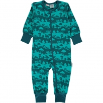 Maxomorra Turquoise Landscape LS Rompersuit