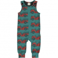 Maxomorra Vintage Fire Truck Dungarees