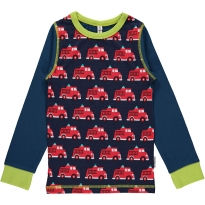 Maxomorra Fire Truck Top With Navy Sleeves