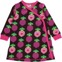Maxomorra Polka Beet LS Wrap Dress