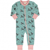 Maxomorra Dashing Reindeer LS Zip Romper