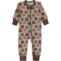 Maxomorra Forest LS Zip Romper