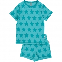Maxomorra Turquoise Stars Shortie Pyjamas