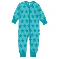 Maxomorra Turquoise Stars Zip Romper