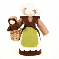 Ambrosius Mother With Basket & One Seed Baby White Skin 13cm