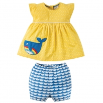 Frugi Whale Waterfall Woven Outfit