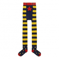 Piccalilly Blue & Yellow Stripe Star Tights