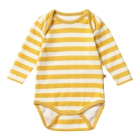 Piccalilly Mustard Stripe LS Bodysuit