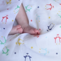 Piccalilly Penguin Muslin Swaddle