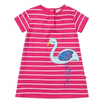 Piccalilly Flamingo Pink Stripe Dress