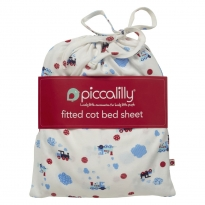 Piccalilly Steam Train Cot Bed Sheet in a Bag