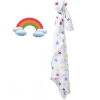 Piccalilly Big Rainbow Star Print Muslin