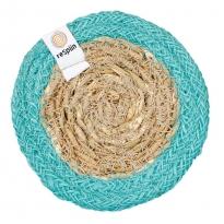 ReSpiin Jute & Seagrass Coaster - Turquoise