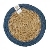 ReSpiin Jute & Seagrass Coaster - Denim