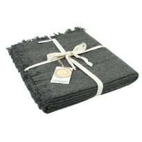 ReSpiin Dark Grey Wool Throw With Fringe