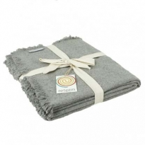 ReSpiin Light Grey Plain Wool Throw With Fringe