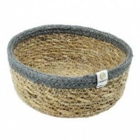 ReSpiin Grey Small Shallow Seagrass & Jute Basket