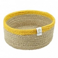 ReSpiin Small Shallow Natural & Yellow Basket