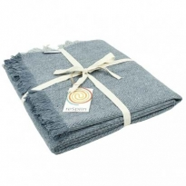 ReSpiin Denim Zig Zag Wool Throw With Fringe