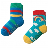 Frugi Rainbow Grippy Socks x2