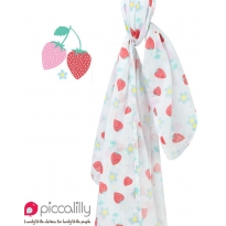 Piccalilly Strawberry Print Muslin Swaddle