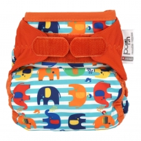 Pop-in Nappy Cover Stripe Elephant Print