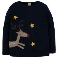 Frugi Reindeer Wrap Around Applique Top