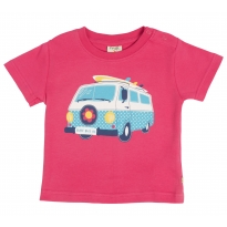 Frugi Baby Cornish Printed T-shirt - Raspberry/Camper
