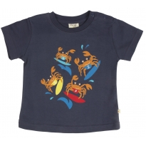 Frugi Baby Cornish Printed T-shirt - Navy/Surfing Crabs