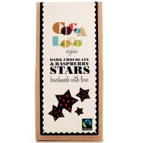 Cocoa Loco Dark Chocolate & Raspberry Stars 100g
