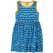 DUNS Blue Sailing Boats Sleeveless Gathered Dress