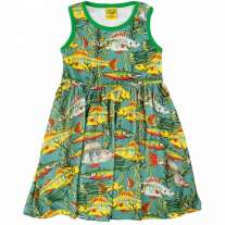 DUNS Adult Teal Sea Weed Sleeveless Gathered Dress