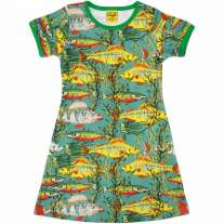 DUNS Adult Teal Sea Weed A-Line SS Dress