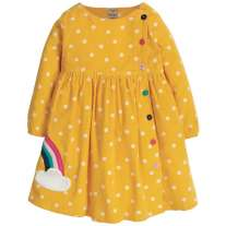 Frugi Rainbow Bonnie Button Dress