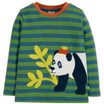 Frugi Stripe Panda Discovery Applique Top