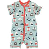 Maxomorra Blue Ocean SS Button Romper