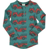 Maxomorra Vintage Fire Truck Slim Button LS Top