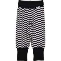 Maxomorra Black & White Waves Rib Pants