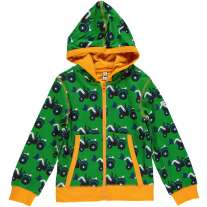 Maxomorra Green Tractor Zip Hoody