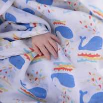 Piccalilly Whale Print Muslin Swaddle
