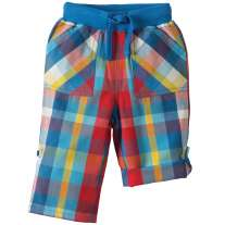 Frugi Blue & Red Check Roll-Up Trousers