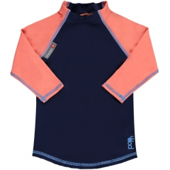 Pop-In LS Rash Vest Navy / Coral