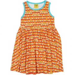 DUNS Orange Sailing Boats Sleeveless Gathered Dress