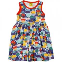 DUNS Jellyfish Teal & Purple Sleeveless Gathered Dress