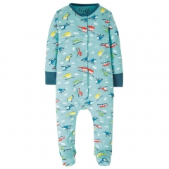 Frugi Bright Sky Helicopters Lovely Babygrow