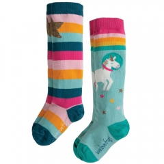 Frugi Hygge High Knee Unicorn Socks 2 Pack