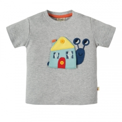 Frugi Snail Button Off Applique Top
