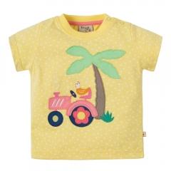 Frugi Tractor Little Polkerris Applique T-Shirt