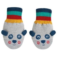 Frugi Panda Merry Knitted Mittens