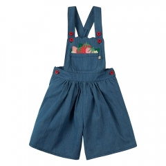 Frugi Chambray Strawberry Culotte Dungarees